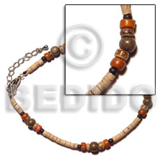 Unisex 2-3mm coco heishe natural white anklets