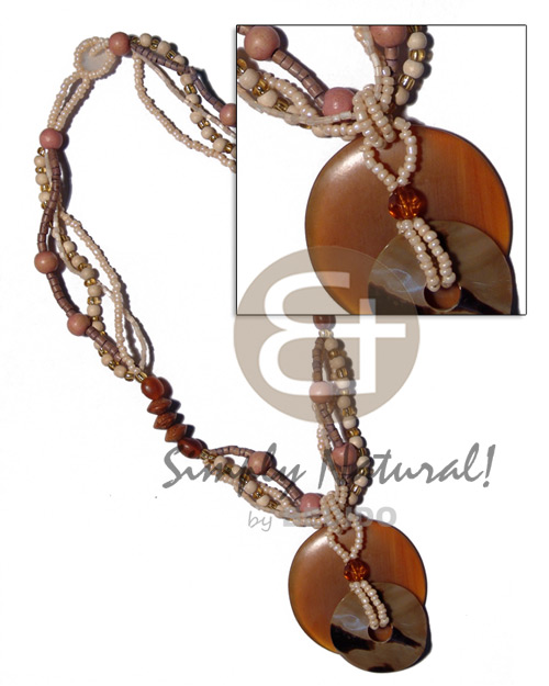 Unisex 50mm round amber horn shell necklace