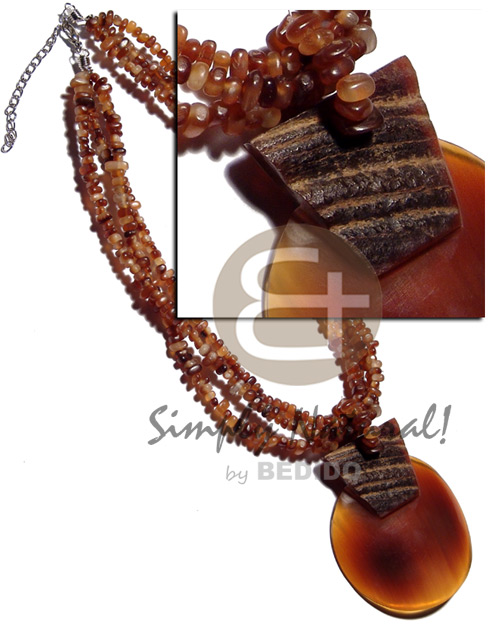 Philippine 3 layers amber carabao horn bone necklace horn necklace