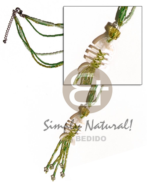 Cebu 3 layers glass beads shell necklace
