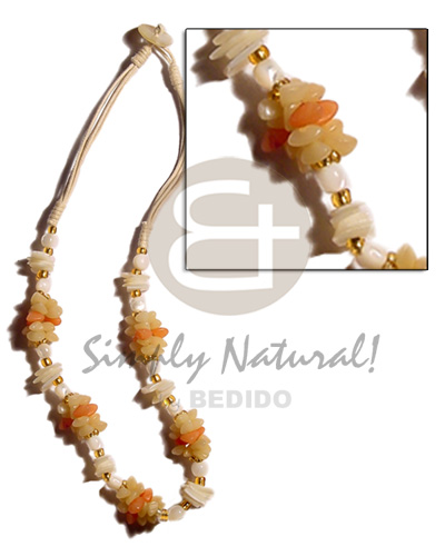 Teens beige 3 layer wax cord seeds necklace
