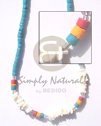 Philippines 4-5 coco heishe turq blue shell necklace