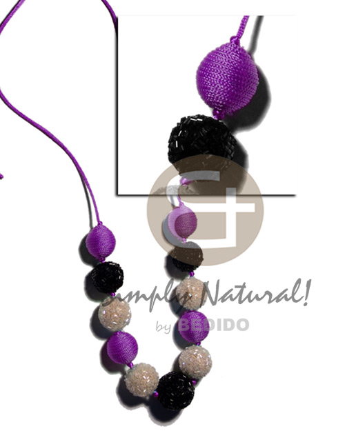 Native 20mm 25mm round wrapped wood beads wood necklace