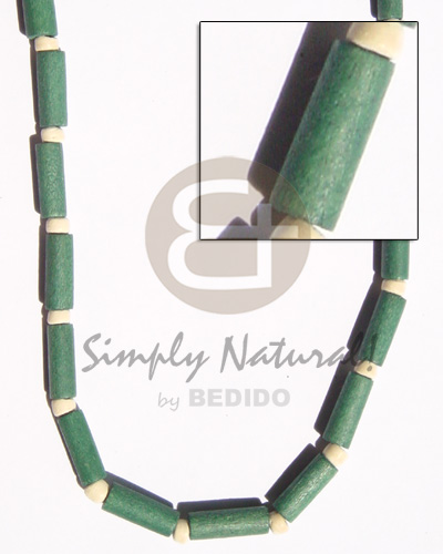 Natural green wood tube pukalet wood necklace