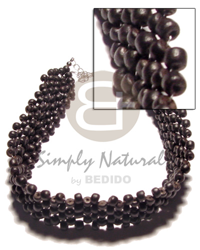 Fashion 3 layer 4-5mm black coco choker necklace