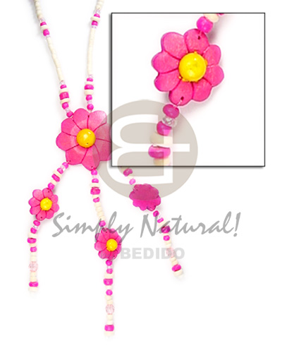 Philippines 3-tassel triple coco flower pendant coco necklace