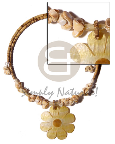 Natural 2-3mm tiger coco heishe shell necklace