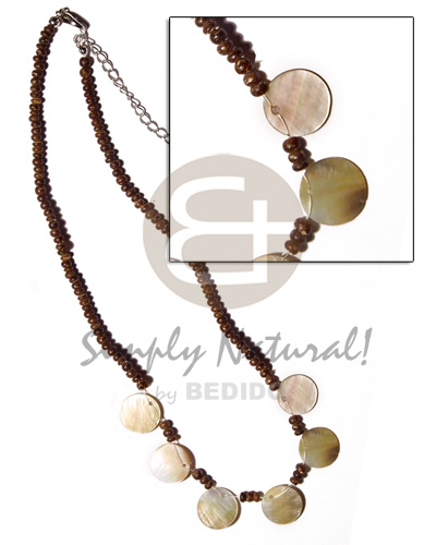 Cebu 2-3mm coco natural brown shell necklace