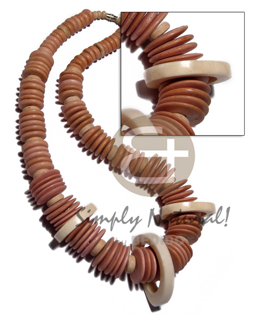 Fashion 10mm 15mm 20mm peach coco pokalet. wood necklace