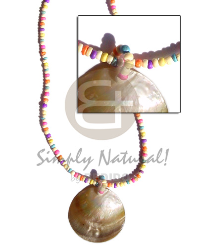 Philippines candy colored 2-3mm coco pokalet shell necklace