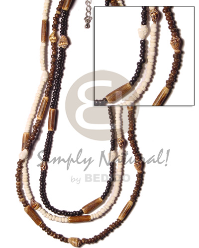 Wholesale 3 rows 2-3 pokalet black bleach brown coco necklace