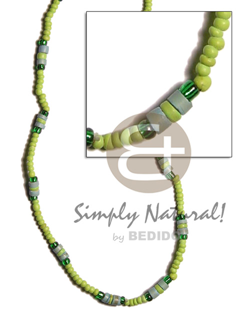 Ladies 2-3mm neon green 4-5mm coco necklace