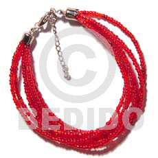 Native 6 rows red multi layered bracelets