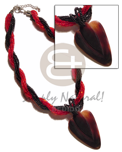Philippine 12 rows red black twisted womens necklace