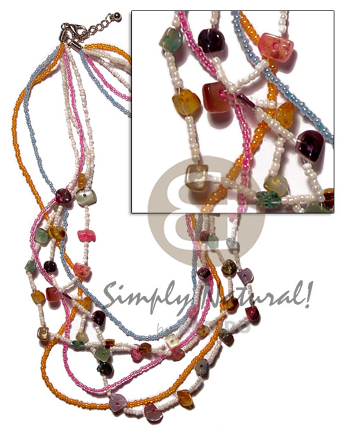 Teens graduated 6 layer multicolored glass shell necklace