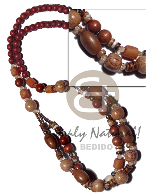 Ethnic 6mm maroon natural wood beads wood necklace