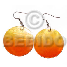 Unisex dangling round 30mm hammershell in hand painted earrings