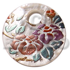 Ethnic round 40mm hammershell hand painted pendants