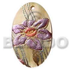 Fashion oval 35mm hammershell hand painted pendants