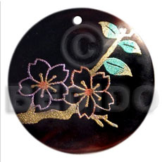 Ethnic round 40mm blacktab handpainted hand painted pendants