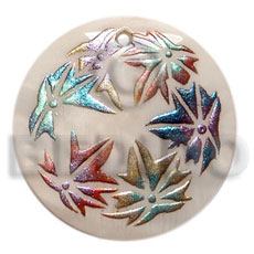 Natural round 50mm kabibe shell hand painted pendants