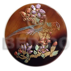 Natural round 40mm blacktab handpainted hand painted pendants