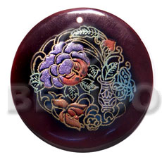 Wholesale round 50mm blacktab shell hand painted pendants