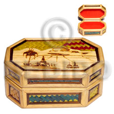 Handmade bamboo pandan jewelry box enlayed wooden jewelry box