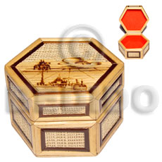 Handmade bamboo raffia jewelry box enlayed wooden jewelry box
