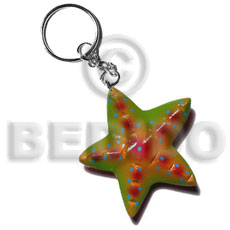 Unisex starfish handpainted wood keychain 65mm hand painted keychains