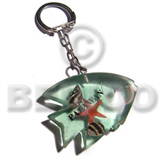 Philippines 52mmx36mm transparent light green hand painted keychains