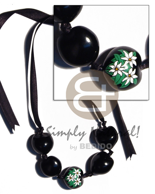 Wholesale kukui nuts ribbon choker adjustable necklace