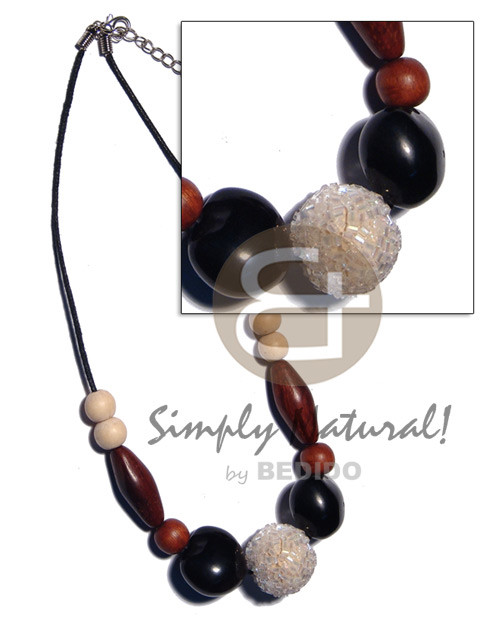 Teens 20mm round wrapped wood beads wood necklace