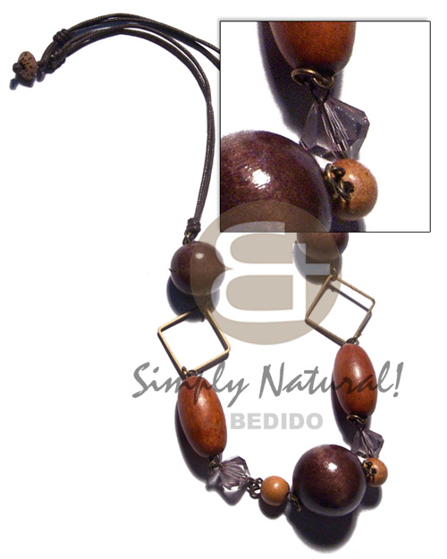 Ethnic assorted wood beads - 2pcs wood necklace