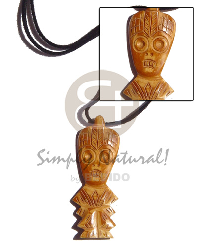 Handmade leather thong horn tribal bone necklace horn necklace