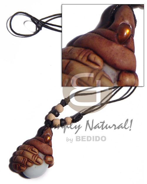 Cebu 35mmx25mm clay fingers adjustable necklace