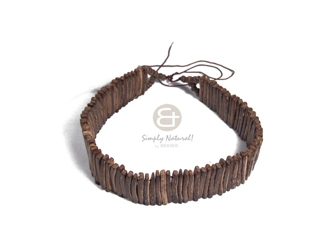 Teens 3in coco natural brown sticks choker necklace