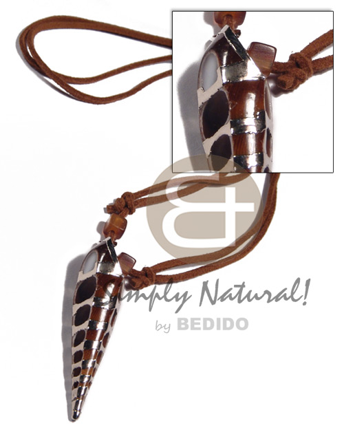 Philippine adjustable brown leather thong shell necklace