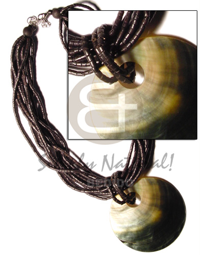 Wholesale 10 rows black coco heishe shell necklace