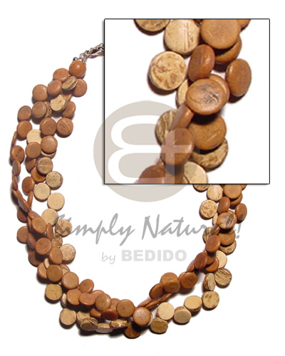 Handmade 3 rows tan coco sidedrill coco necklace