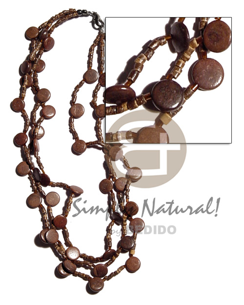 Fashion 3 rows 2-3mm natural brown coco necklace