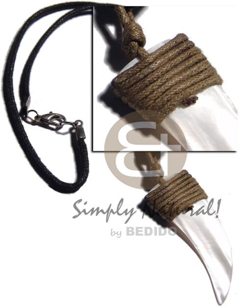 Native 50mmx20mm kabibe shell fang pendant shell necklace