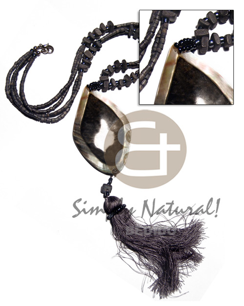 Native 2 rows 2-3mm gray coco shell necklace