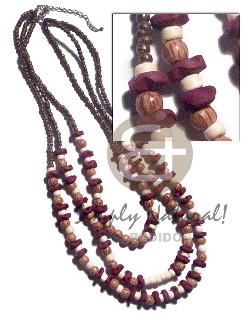 3 graduated rows of 2-3mm coco Pokalet nat brown  10mm coco flower in wine color, palmwood  round beads, 4-5mm coco Pokalet bleach white accent / 15in/18in/20in /ext. chain - Home
