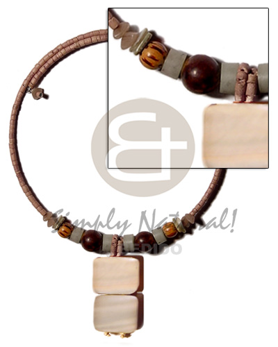 Fashion mocca 2-3mm coco heishe wire shell necklace