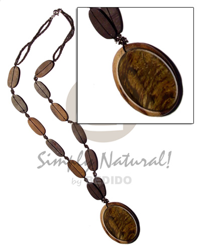 Wholesale 50mm oval blacklip inlaid in wood necklace