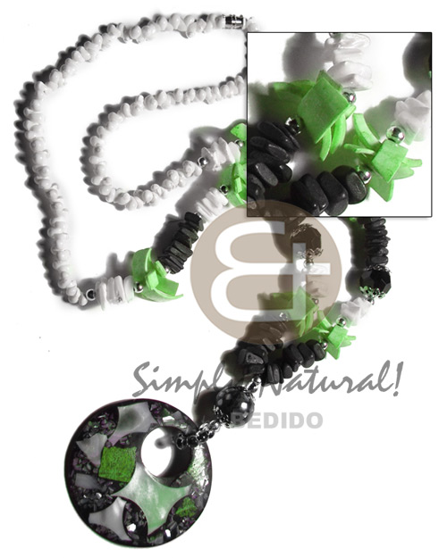 Handmade black coco sq. cut shell necklace