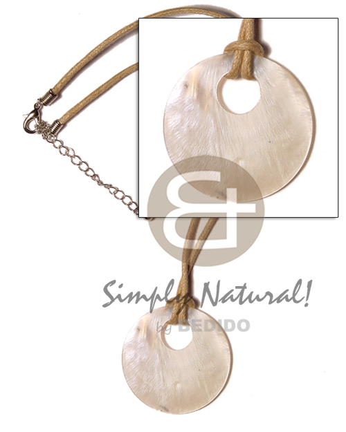 Native round hammershell 45mm on wax shell necklace