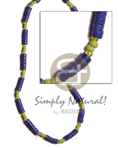 Natural 4-5mm navy blue coco heishe coco necklace