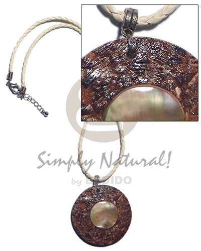 70mm  round laminated shell chips resin pendant  MOP ring accent in 2 layers brown leather thong / 18in - Home